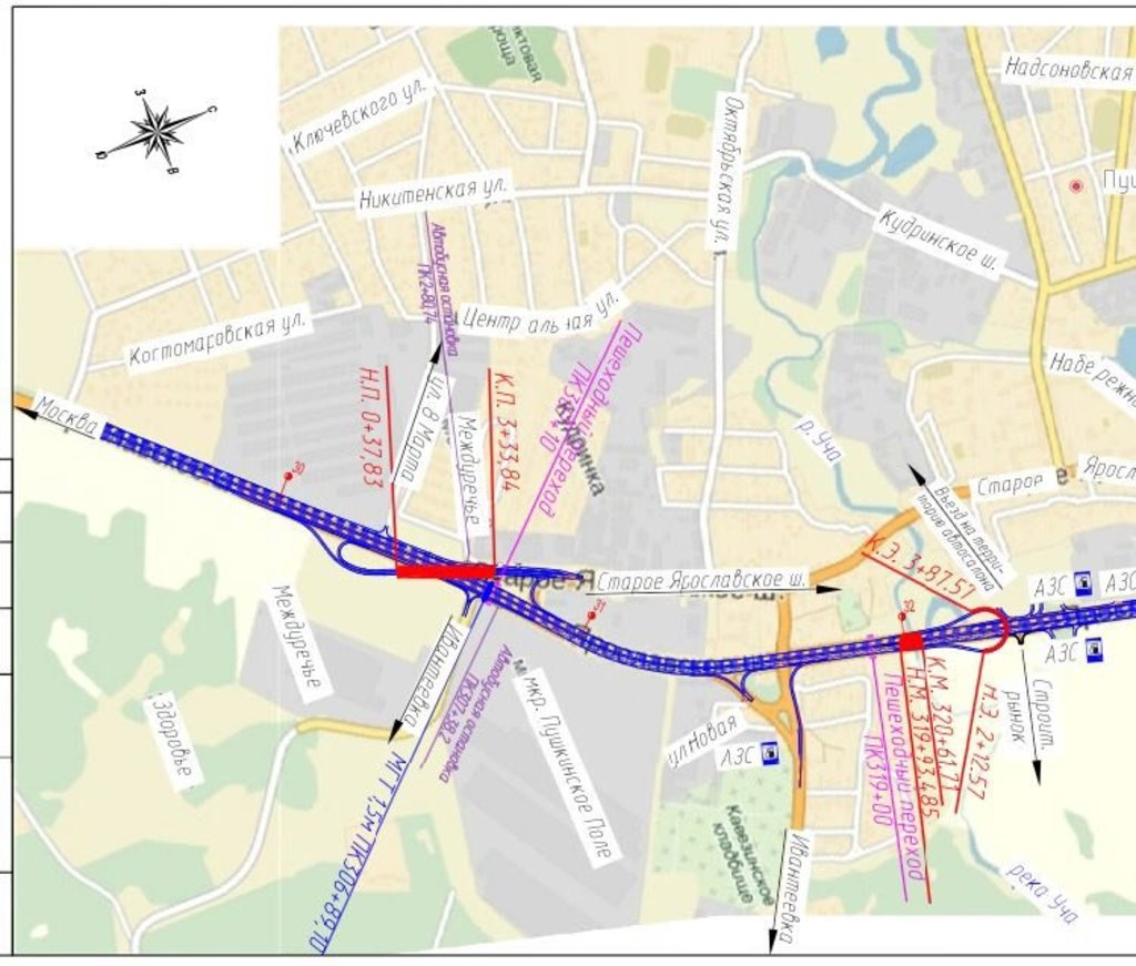 Часть плана реконструкции Ярославского шоссе в районе города Пушкино