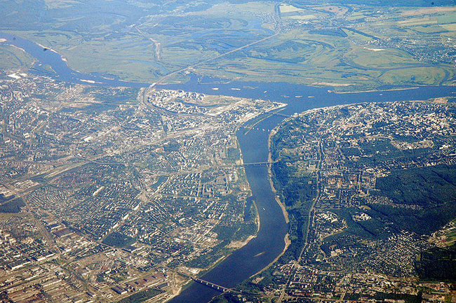 Вид Нижнего Новгорода сверху