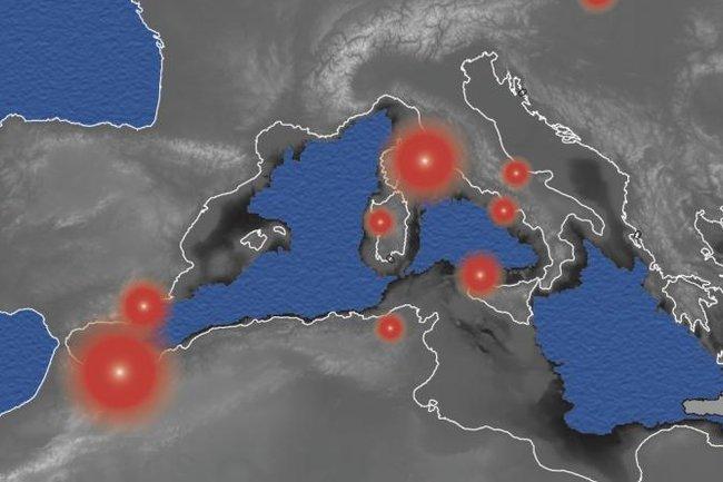 береговая линия Средиземного моря при снижении уровня воды на 2 км во время мессинского пика солености. Белой линией отмечены современные очертания берегов, красным - зоны вулканической активности