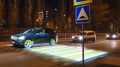 В Воронеже появился первый подсвеченный пешеходный переход