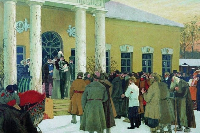 «Освобождение крестьян (Чтение манифеста)». Картина 1907 года
