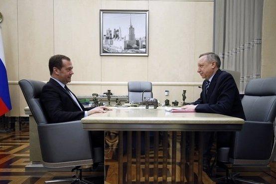 Премьер-министр Дмитрий Медведев принимает врио губернатора Санкт-Петербурга Александра Беглова