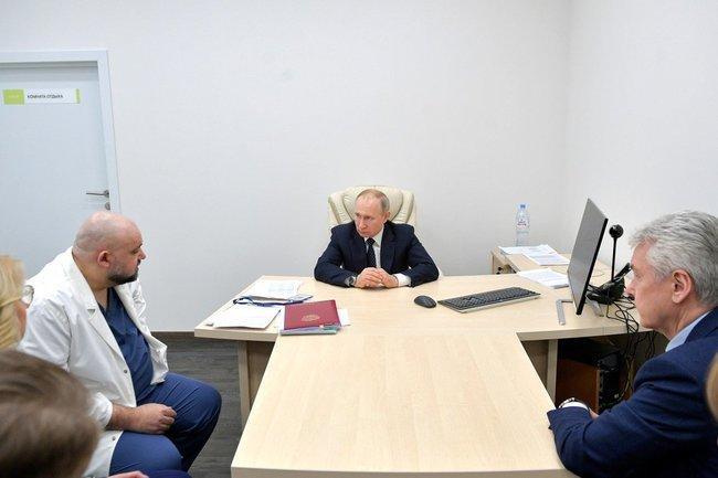 Денис Проценко (слева), Владимир Путин, Сергей Собянин