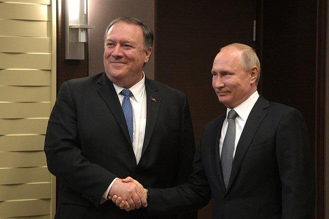 Майкл Помпео и Владимир Путин