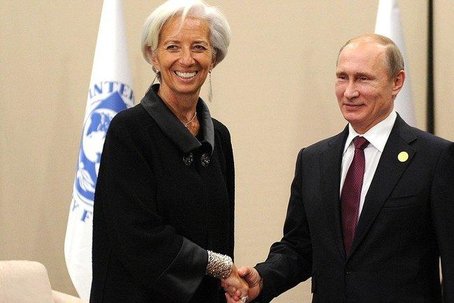 Глава МВФ Кристин Лагард и Владимир Путин